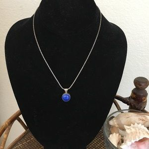 JACKSON Blue Stone and Silver Tone Necklace
